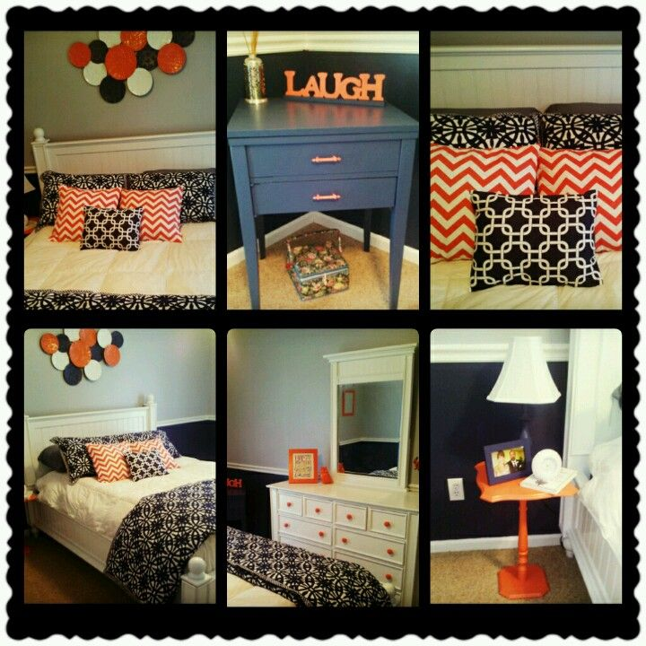 Navy Blue, Coral, And Gray Bedroom Decor