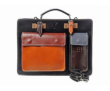 Maletín con dos bolsillos y dos compartimentos Adriana - negro