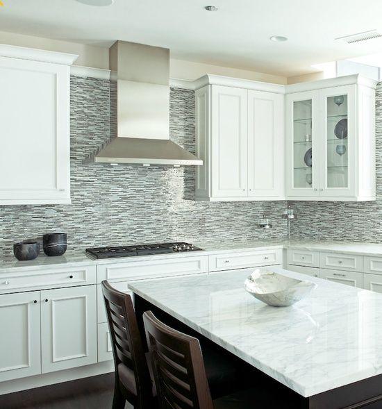 Glass Tile Backsplash White Cabinets | glass mosaic linear tiles backsplash: kitchens blue brown gray glass