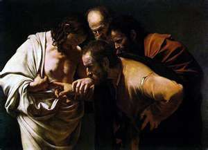 Doubting Saint Thomas by Caravaggio Paintings from the life of Jesus      www.biblical-quotes-and-poe...