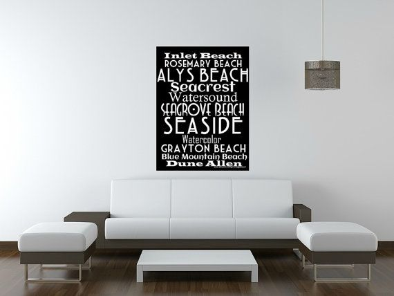 30A Beaches Subway Art 36x48 Canvas - Typography Canvas Gallery Wrap  - Ready to Hang - Home Decor Wall Art 30A Beach House - Gifts for Him