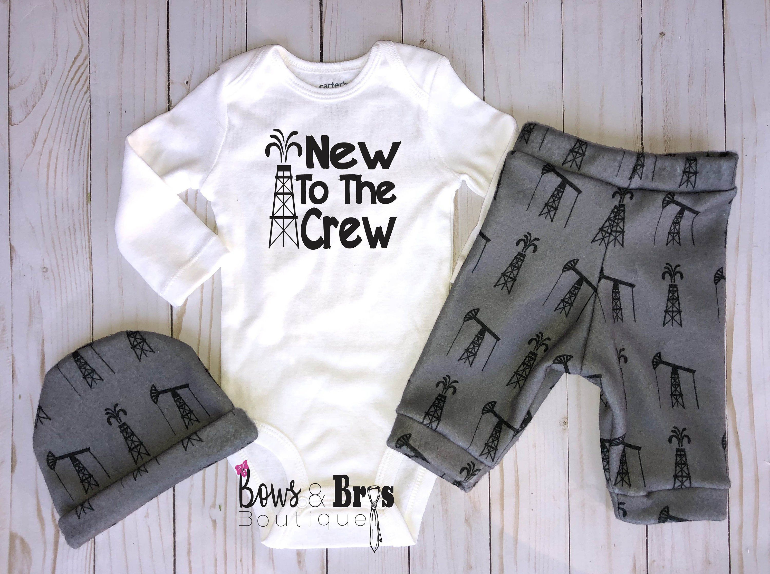 Photo of New to the Crew Baby Boy Outfit, Oil Rig Oil Field Baby Boy Roughneck Outfit, Oil Field Boy Shirt, Hospital Coming Home Outfit NB-24M