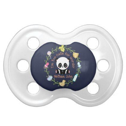 Too cute for words personalized baby panda wreath pacifier negle Images
