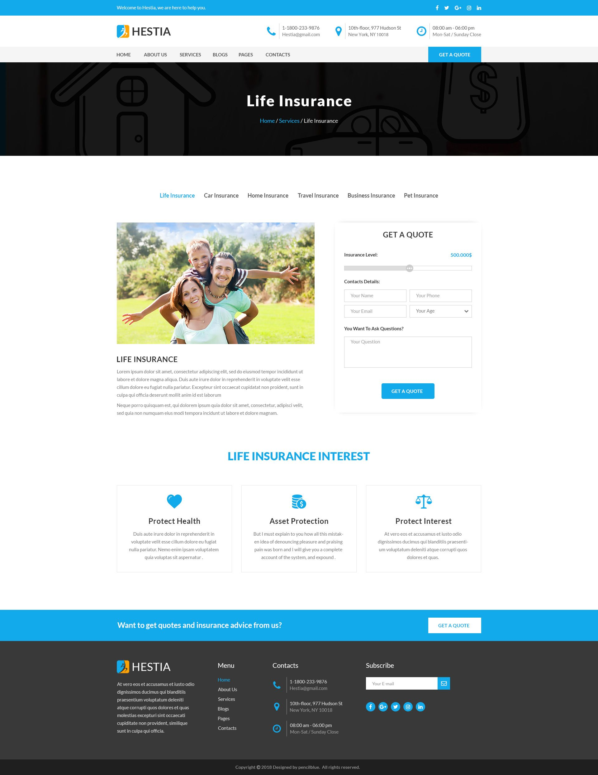Hestia Insurance Agency Business Psd Template Insurance