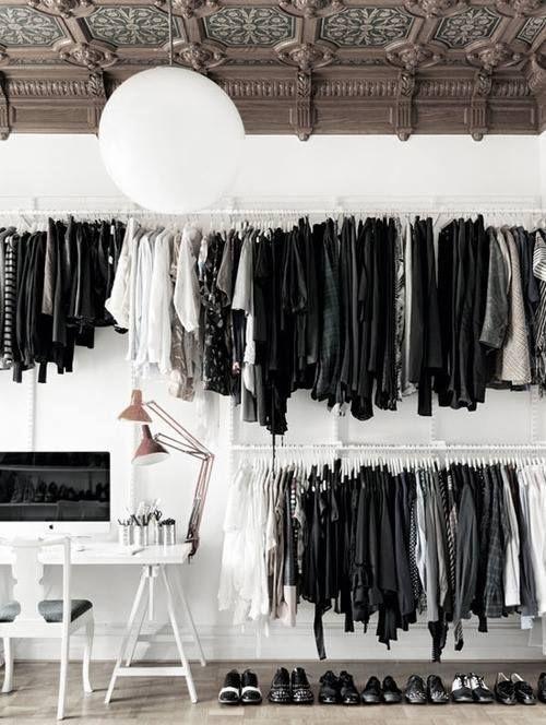 black and white closet #planetblue