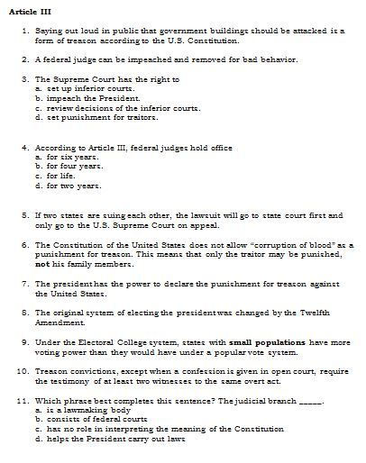 U.S. Constitution Quiz Questions --128 Questions separated by ...