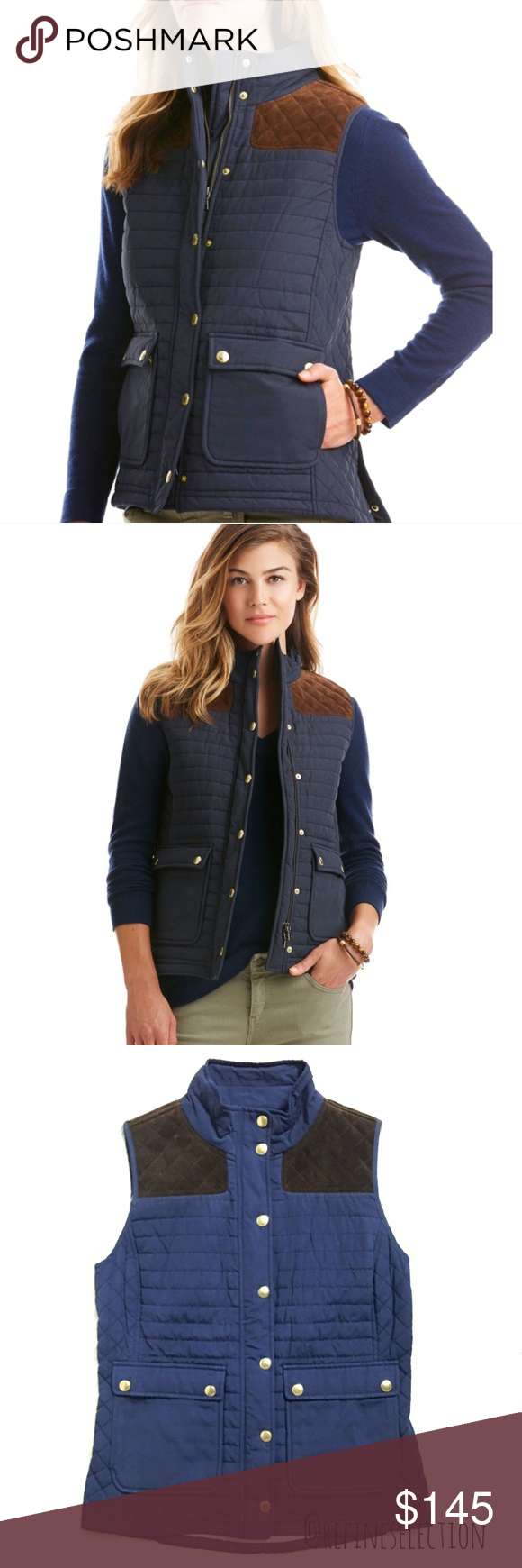 Vineyard Vines Quilted Leather Navy Hunting Vest Brand New