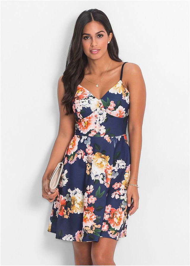 Sukienka Z Dzerseju W Kwiaty Na Cienkich Ramiaczkach Niebieski W Kwiaty Bonprix Sklep Fashion Summer Dresses Dresses