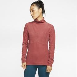 Nike Pro HyperWarm Velours-Oberteil für Damen – Rot Nike