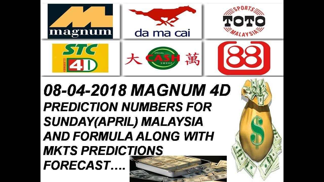 08-04-2018 Magnum 4d prediction numbers with formula for Sunday