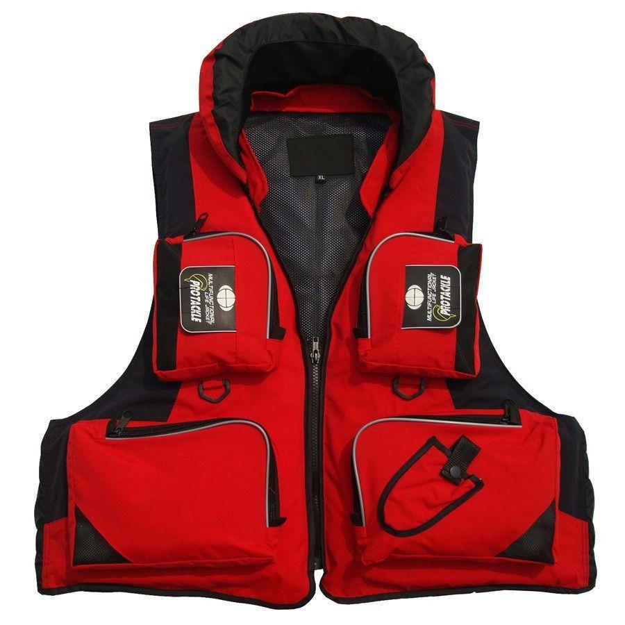 Adult Protackle Flotation Life Vest Jacket With Storage Pockets U0026  Detachable Hat (Red, Blue