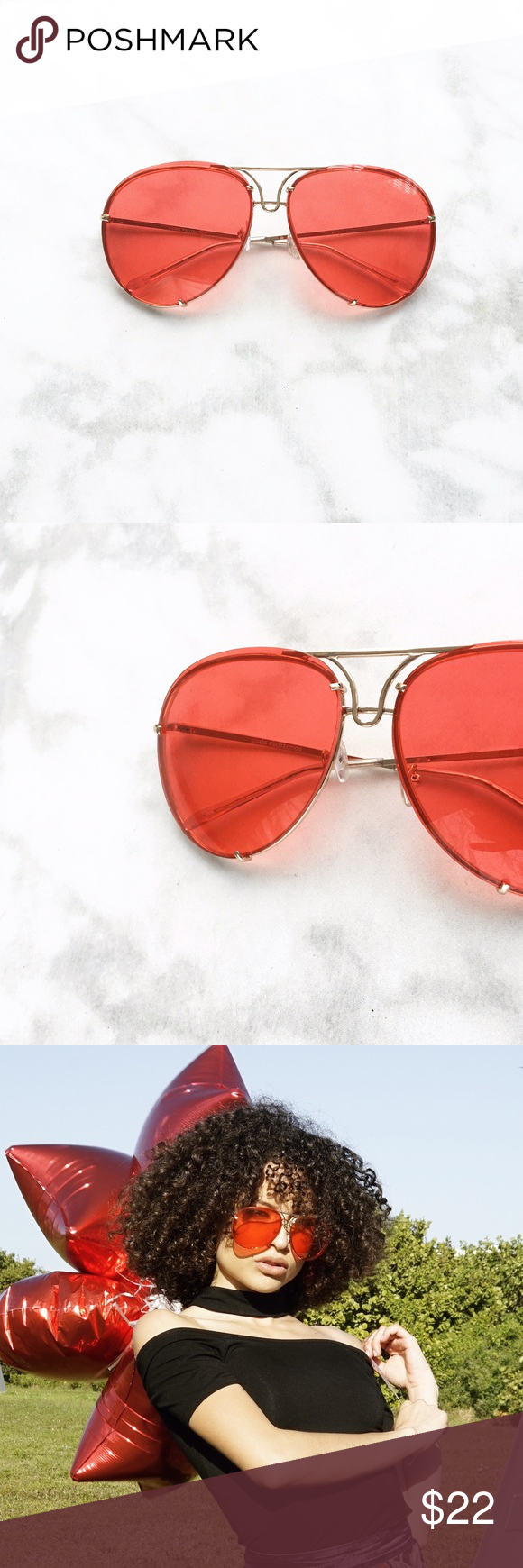 9ec985194 ✨1 DAY SALE✨RED OVERSIZED AVIATOR SUNGLASSES These sleek and simple oversized  aviator sunglasses