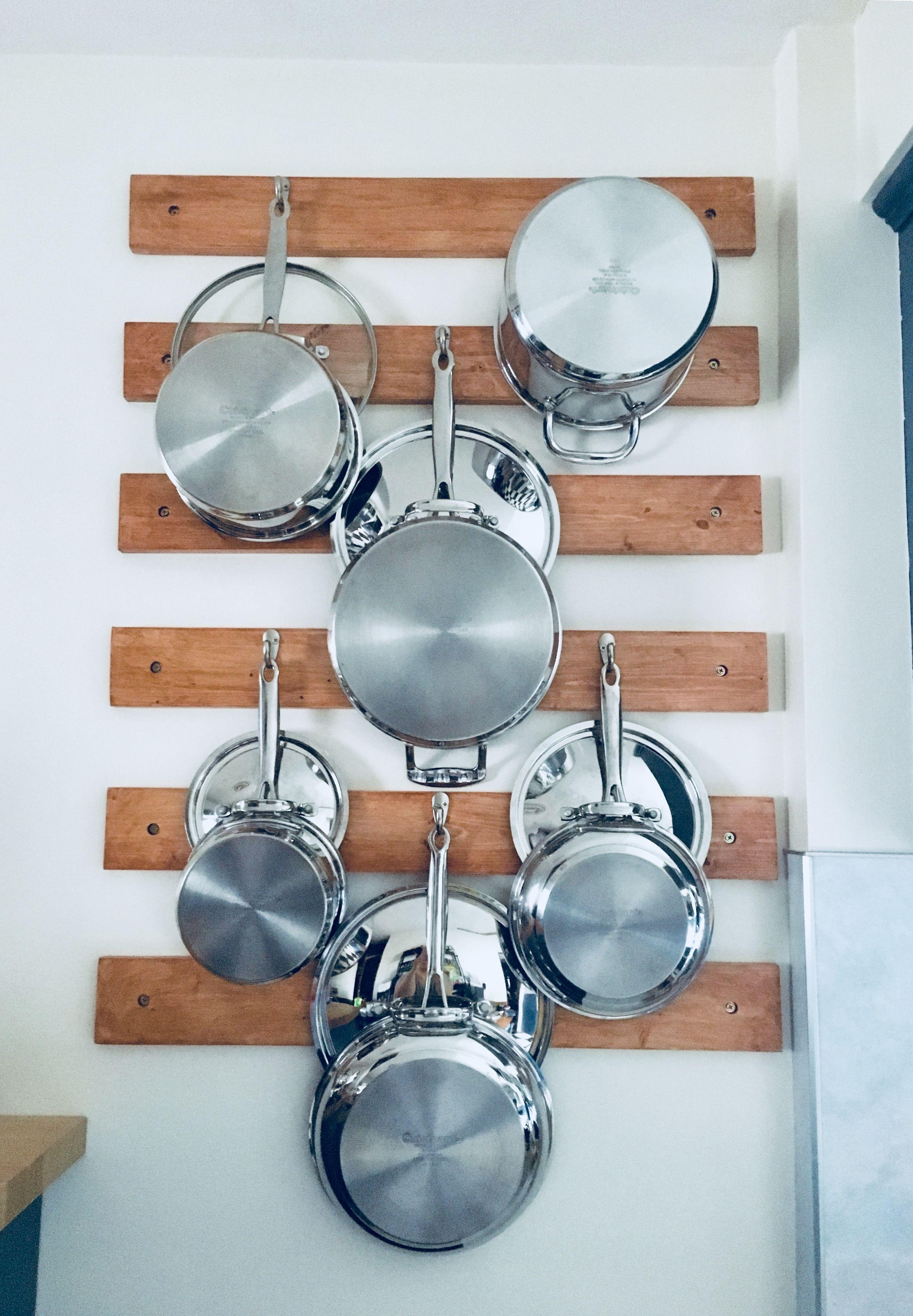 diy wall mounted pot rack pot rack