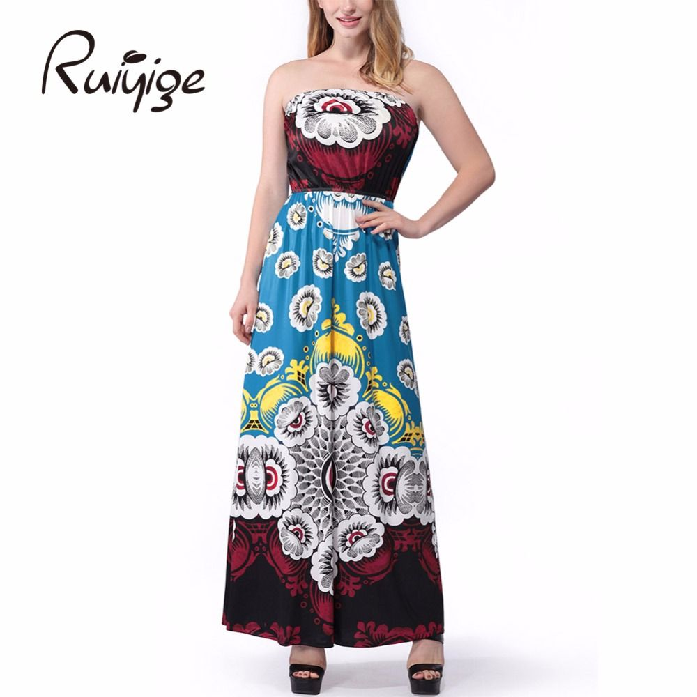 Women Sexy Bohemian Printed 2017 New Arrival Milk Silk Dress Summer Contrast Color Off The Shoulder Sleeveless Long Maxi Dresses