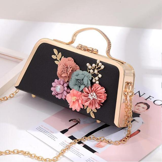 Pearl Evening Bags Flowers Clutches Black Leather Evening Bags