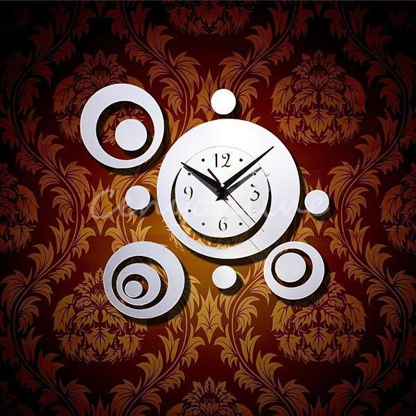 Decor DIY 3D Home Room Modern Decoration Mirror Living Wall Clocks Silver