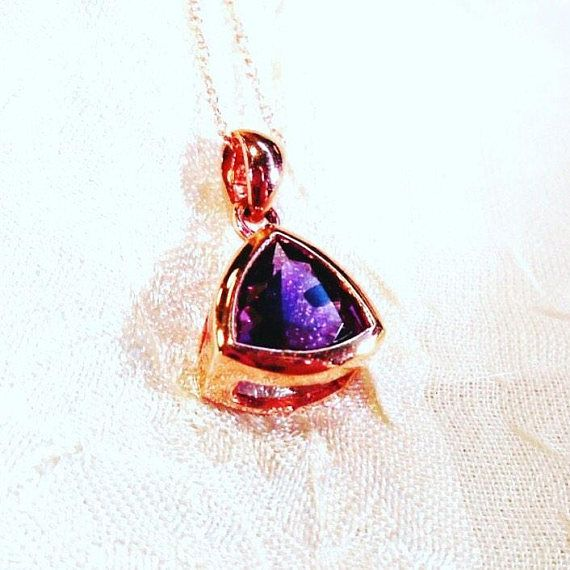 Amethyst Trillion Necklace in Rose Gold Handmade Jewelry by