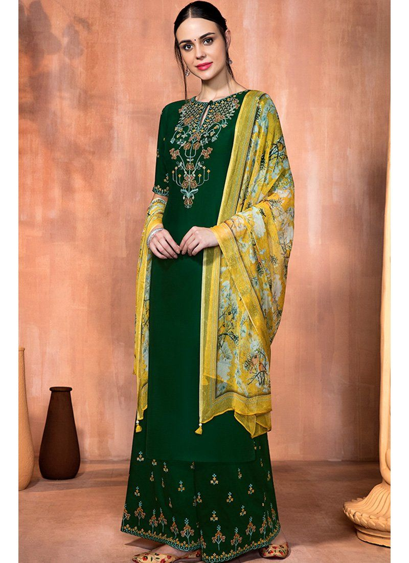 4008f4476a Yellow and Dark Green Embroidered Muslin Silk Palazzo Suit in 2019 ...