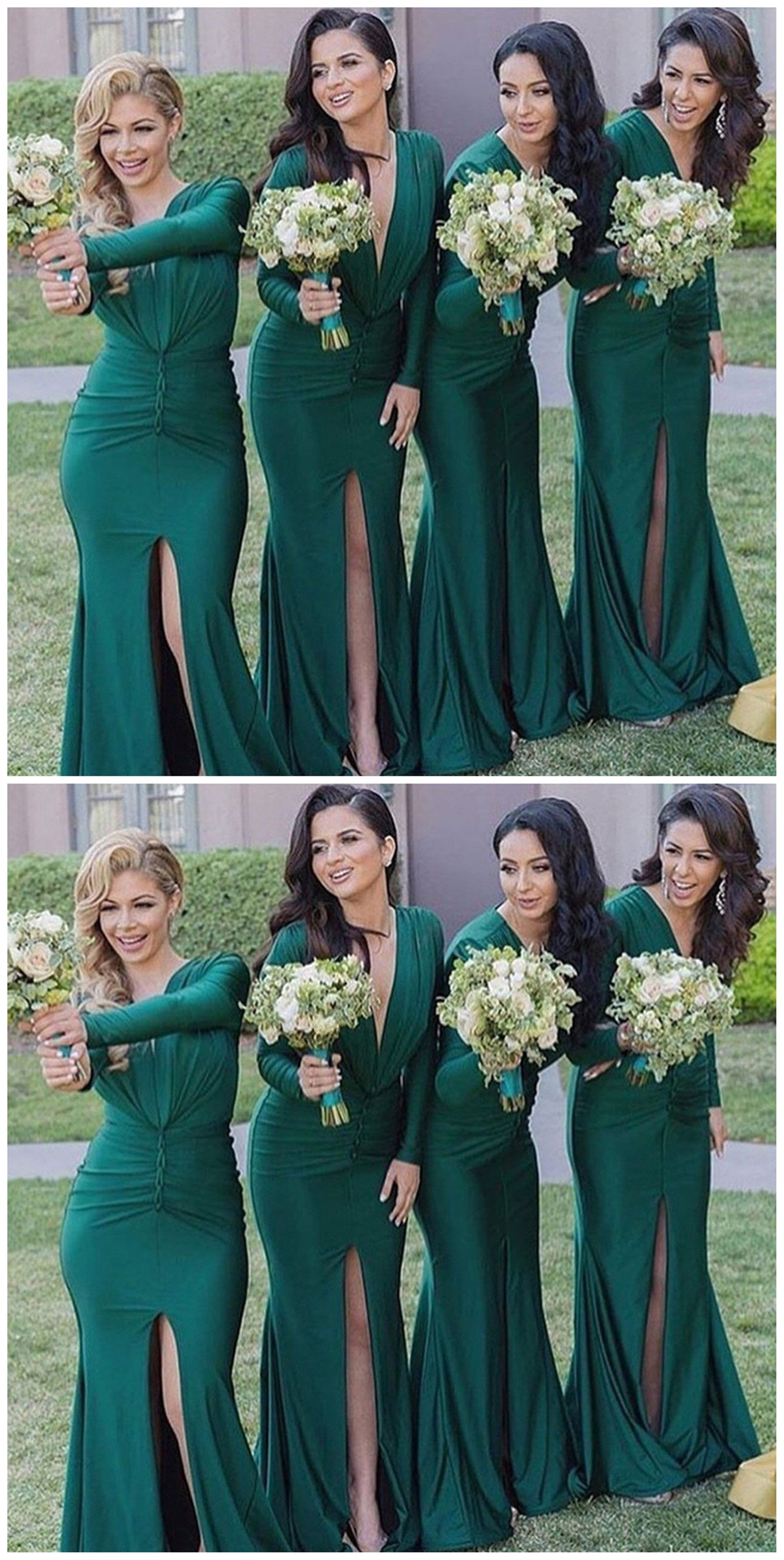 Unique long sleeves sexy v neck mermaid teal green cheap long unique long sleeves sexy v neck mermaid teal green cheap long bridesmaid dresses wg308 ombrellifo Images