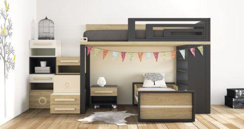Habitacion juvenil con dos camas modelo Viena | Dormitorio ...