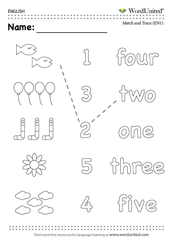 Count in English (1-5) - WordUnited #numbers#read#count#match#trace ...