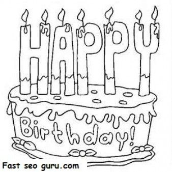 Printable Happy Birthday Cake Coloring Pages Printable Coloring