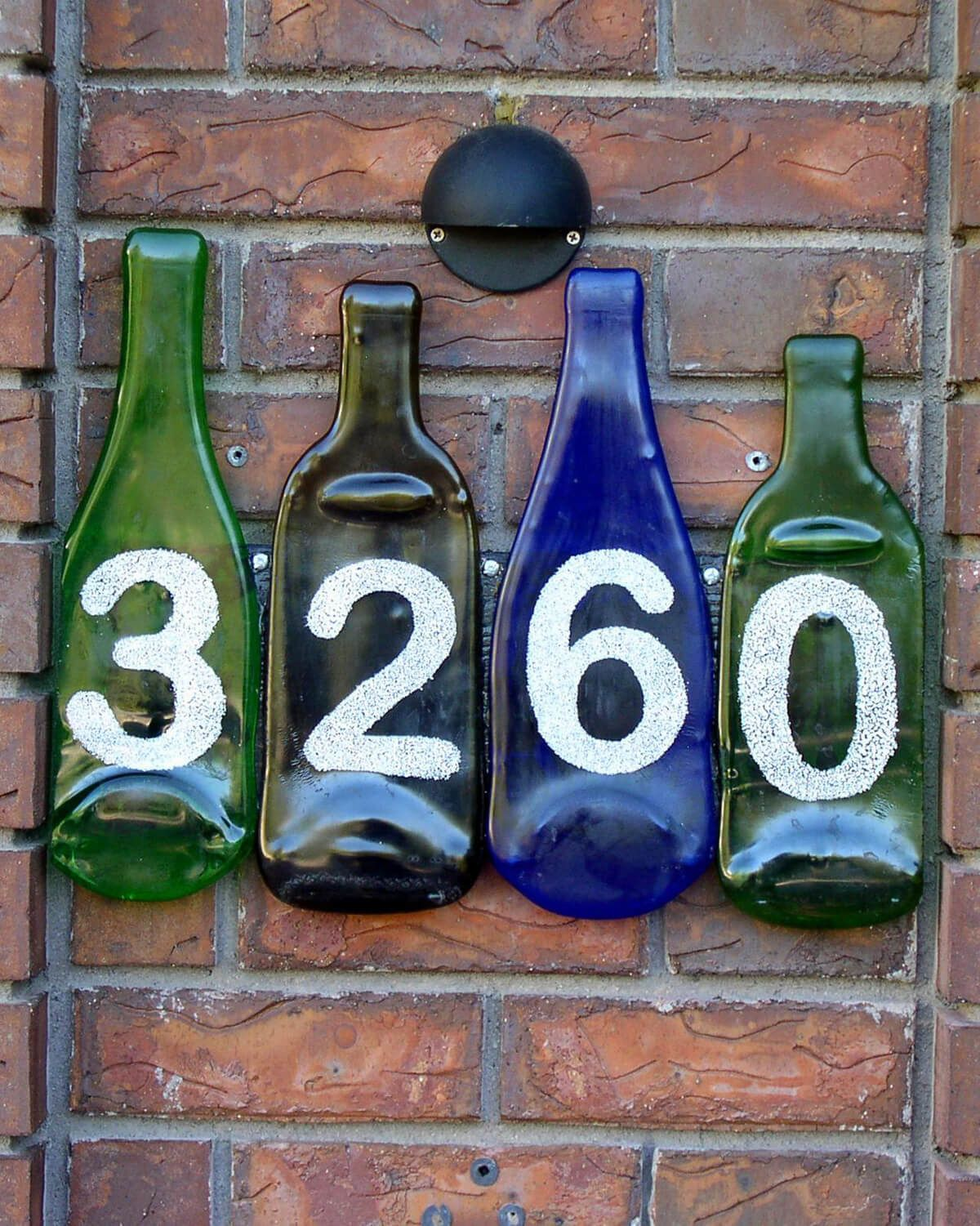 Unique House Number Ideas Using Glass Bottles Ceramic House