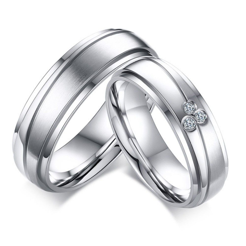 Stainless Steel CZ Inlaid Flower Womens Wedding Ring Silver Aooaz Jewelry