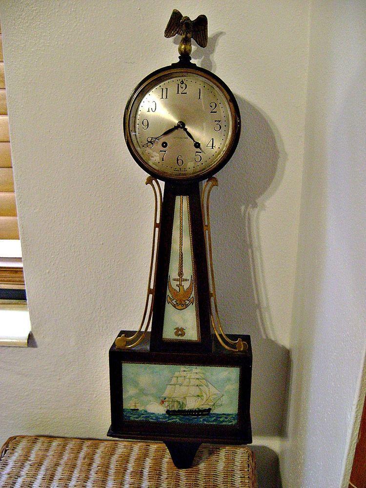 Seth Thomas Banjo Clock 2 Ca 1928 Eagle Anchor And Ship Scenes Clock Antique Clocks Seth Thomas