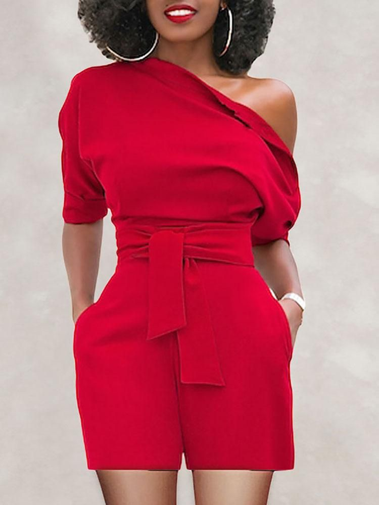 97da9f87c750 Skew Neck Batwing Sleeve Belted Playsuit Dressy Casual Outfits