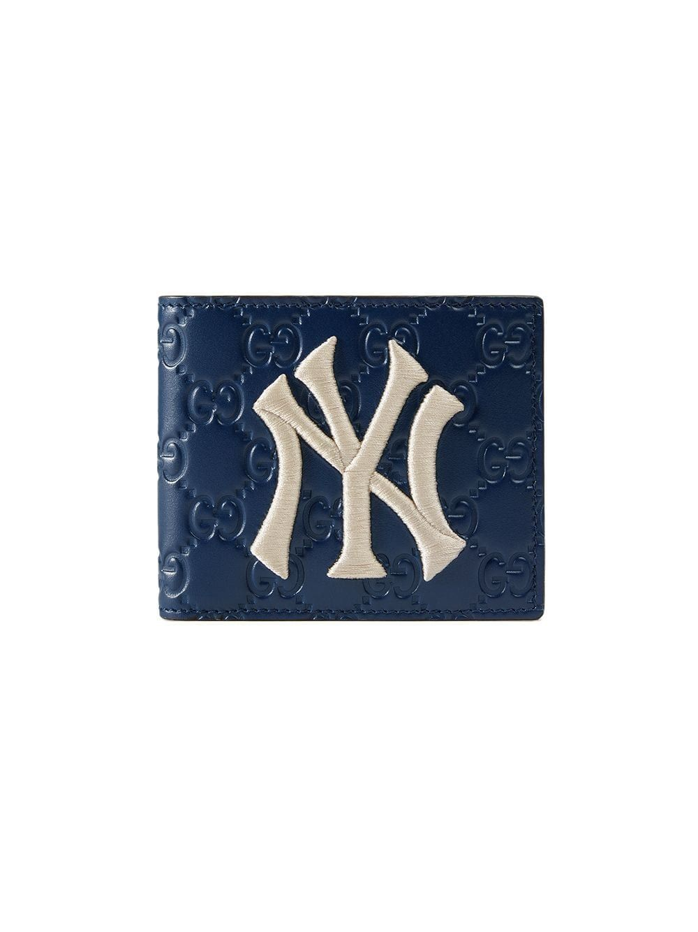 Wallet With Ny Yankees Patch In Blue With Images Blue Wallet Gucci Wallet Wallet