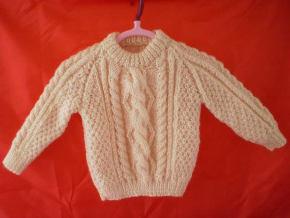 Baby  Childrens Sweater Aran Jumper  Hand Knitted by AlfieJayne, €35.00