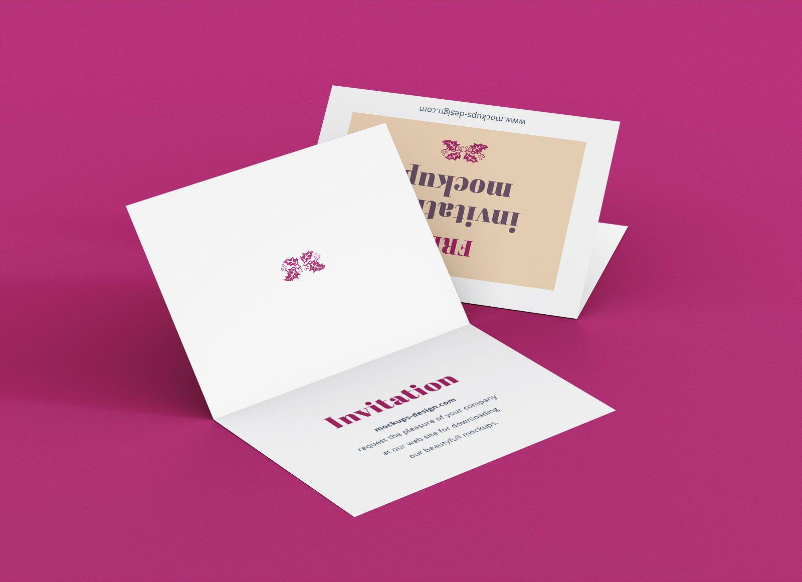 Free A7 Bi Fold Greeting Invitation Card Mockup Psd Set For Card Folding Templates Free Great Sample Te In 2020 Invitation Mockup Card Template Invitation Template