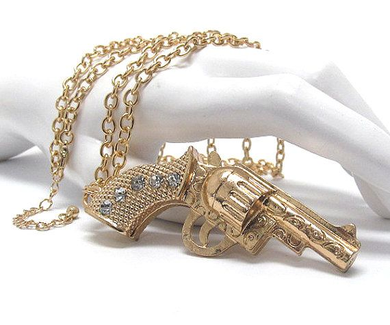 Golden Gun Rhinestone Necklace Pendant by Candyspell on Etsy, $17.94