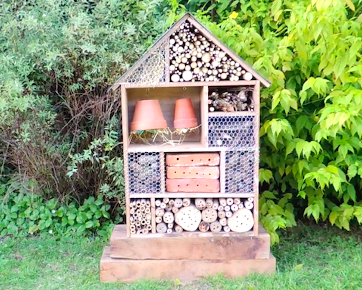 diy building insect hotel video how to build a bug mansion cliquez pour voir la construction. Black Bedroom Furniture Sets. Home Design Ideas