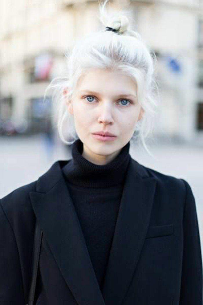 1001 looks qui vous font oser les cheveux couleur blond polaire coiffures. Black Bedroom Furniture Sets. Home Design Ideas