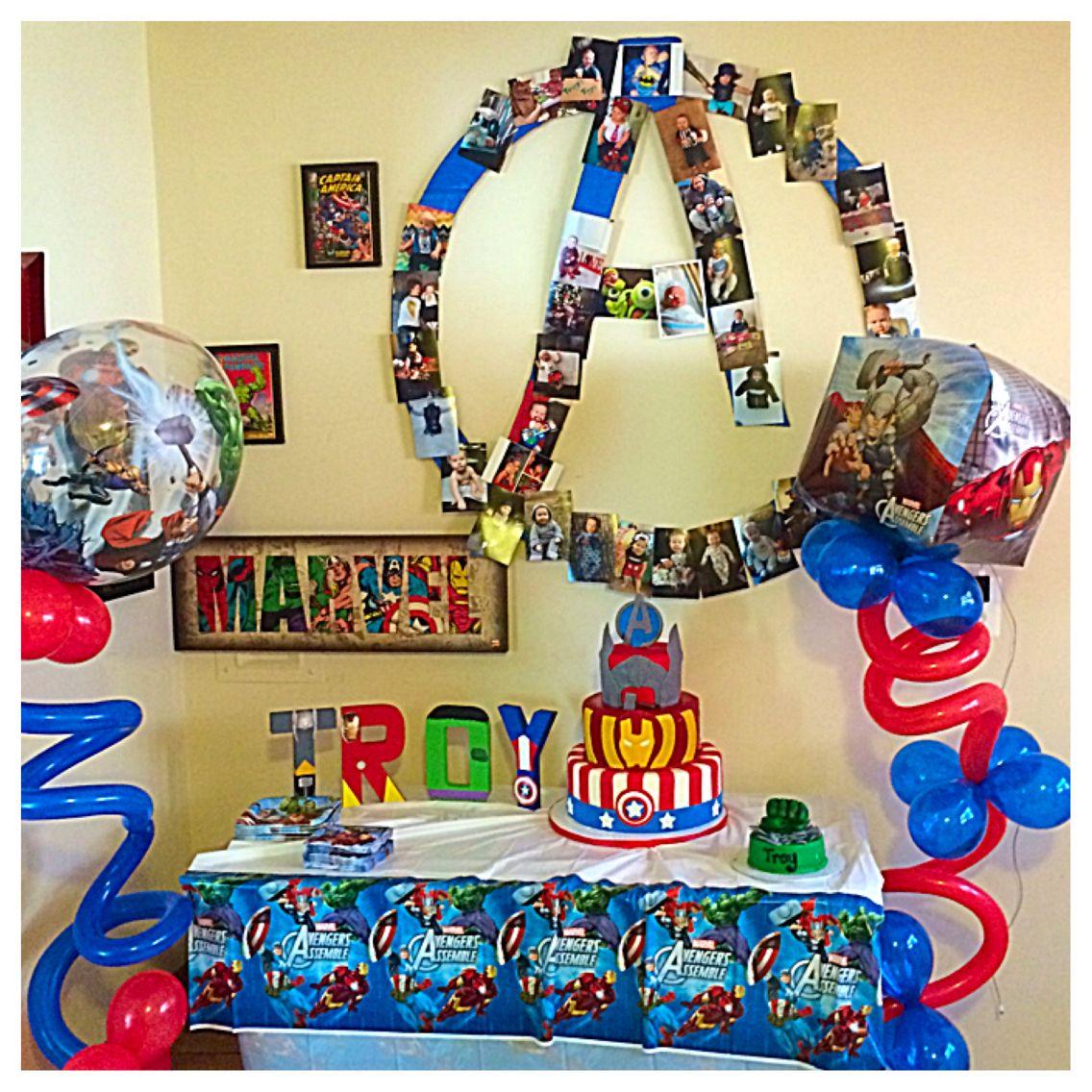 avenger themed birthday cake table set up