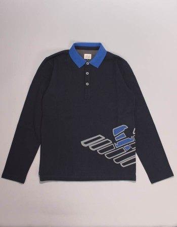 6b312229 Armani Junior Grey and Navy Big Logo Polo Shirt | Junior Autumn ...