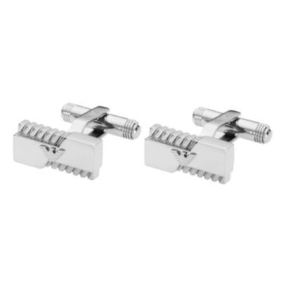 A fantastic pair of rectangular Emporio Armani cufflinks featuring two cutaway sections with an underlying rope style effect and their famous eagle logo standing proud on the face. On http://coolcufflinks.co.uk