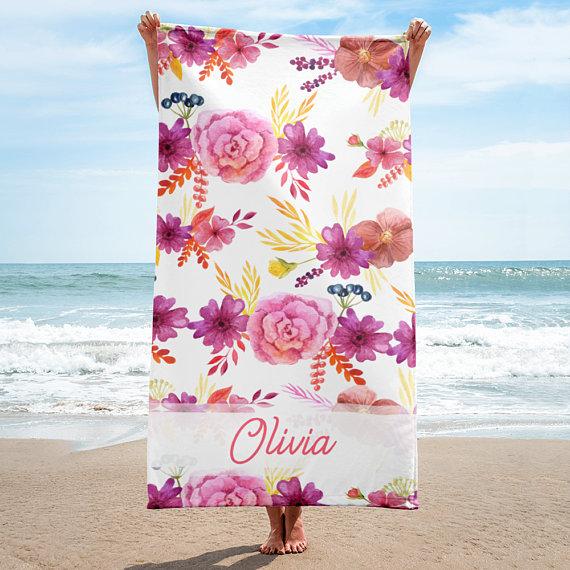 Personalized Beach Towel Custom Travel Gift Bridesmaid Gift