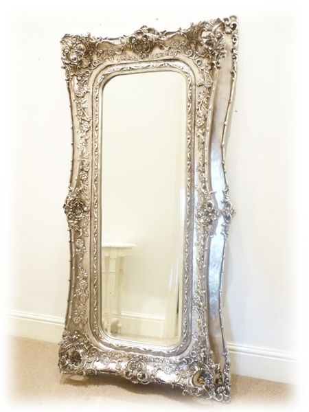 Extra large silver decorative style wall mirror 180x89cm for Decorative full length wall mirrors
