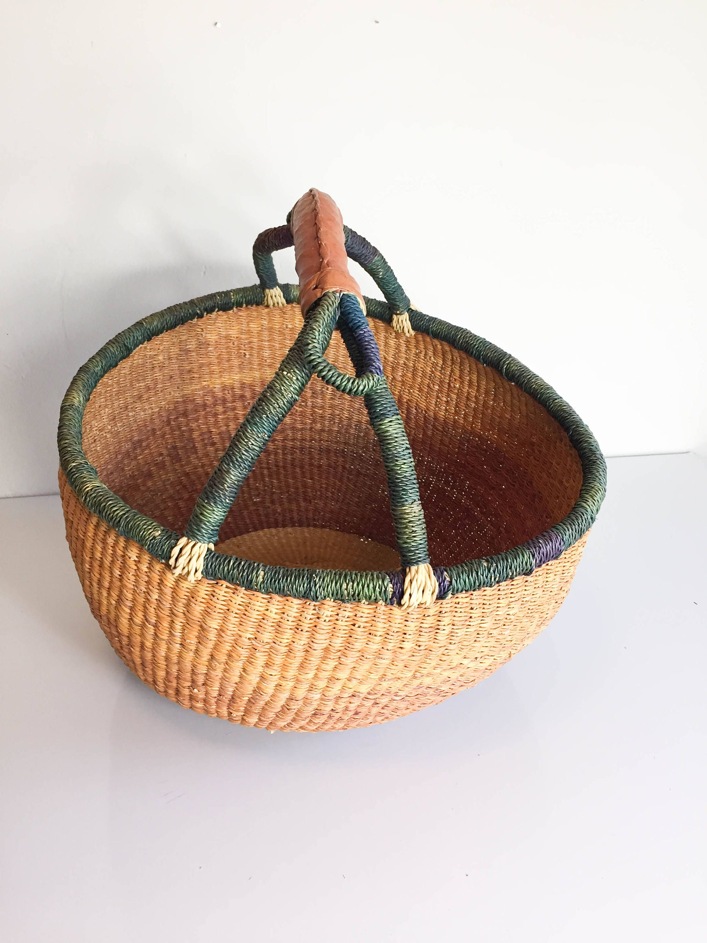 Large Woven Straw Market Basket With Leather Handle By