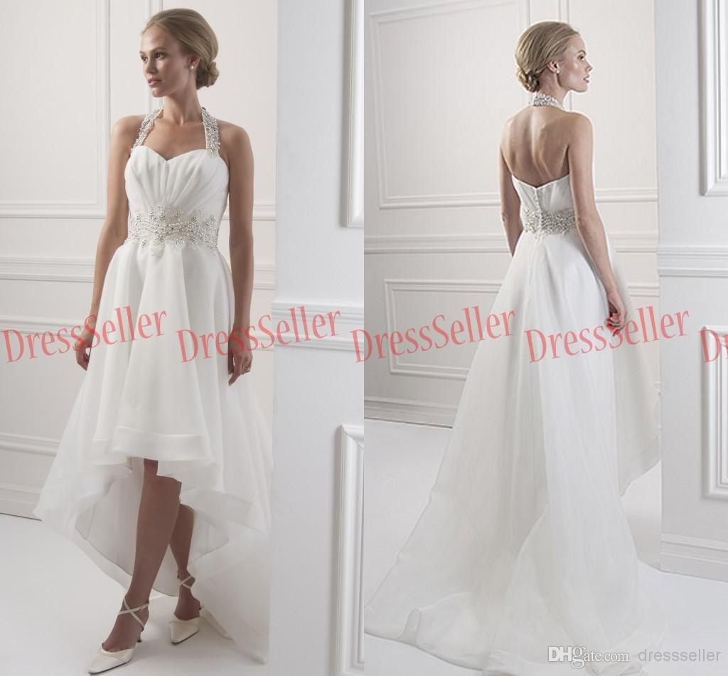 High low wedding dresses cheap  Vintage  Halter Neck Beads Chiffon White Hilo wedding dresses