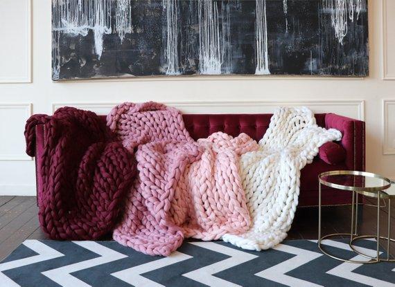 Grosse Chunky Stricken Decke Chunky Merino Wolle Decke Rosa Arm