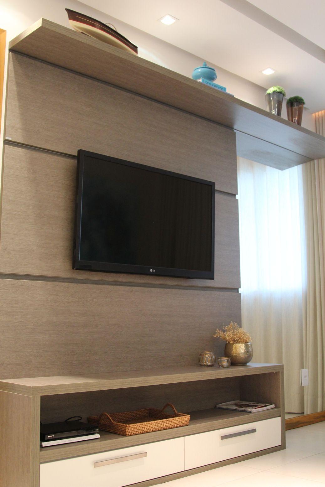 Sala Do Apartamento Decorado No Felice Pitua U Tv Wall Units  -> Sanca De Gesso Sala De Tv