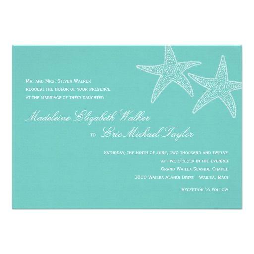 Cheap Tiffany Blue Wedding Invitations: Starfish Wedding Invitation - Blue