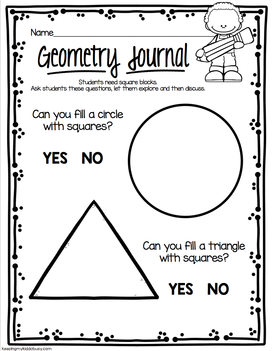 GEOMETRY math journals for kindergarten - problem solving and ...