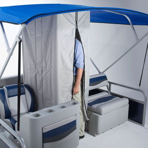 Easy And Affordable Way To Add A Changing Room Your Pontoon Boat Attaches Bimini Tops Frame With Velco Loops