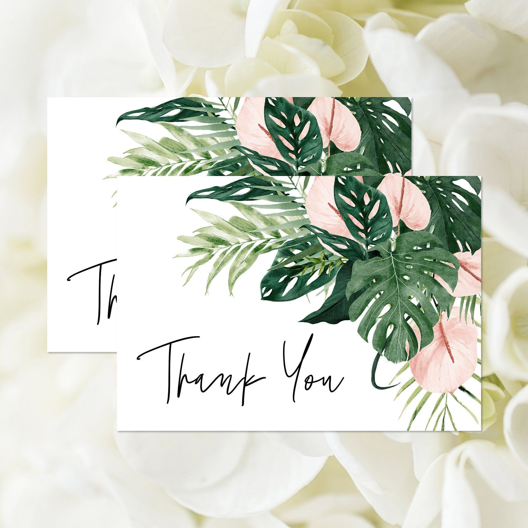 Editable tropical jungle thank you card template bridal