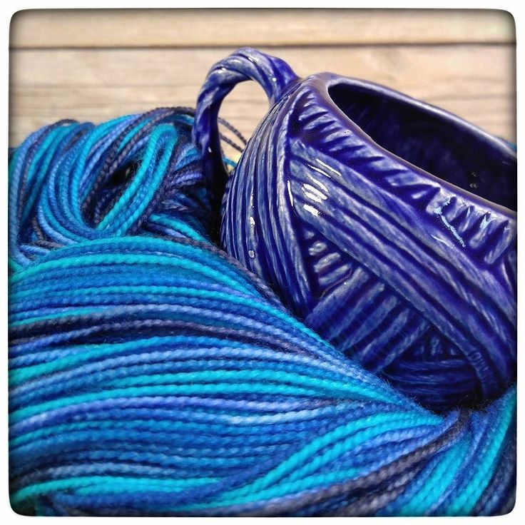 Blue Jean yarn and a sweet little yarn cup in Royal Blue. A match made in heaven?